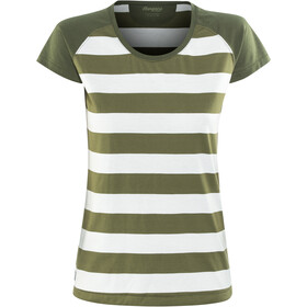 Bergans Filtvet T-shirt Femme, white/khaki green striped/seaweed